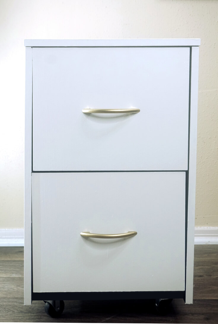 DIY Gold and White Filing Cabinet Makeover 4 of 10