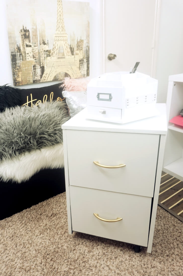 DIY Gold and White Filing Cabinet Makeover 8 of 10