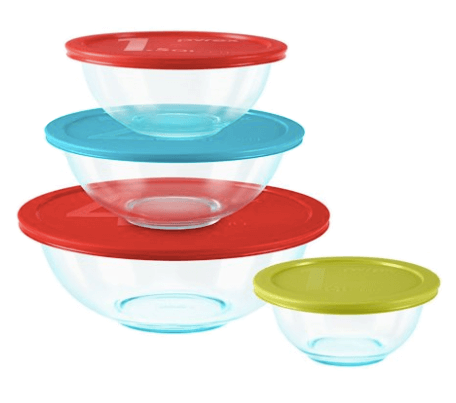 Clear Glass Microwavable Mixing Bowls with Cover