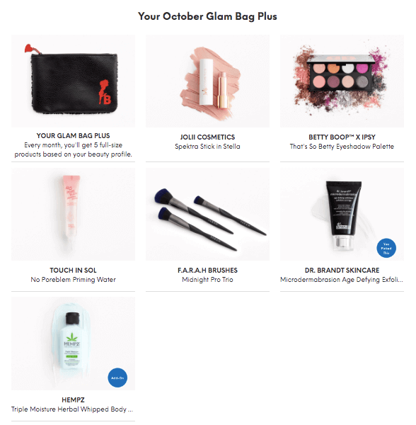 Ipsy Glam Bag Plus Reveal October 2019