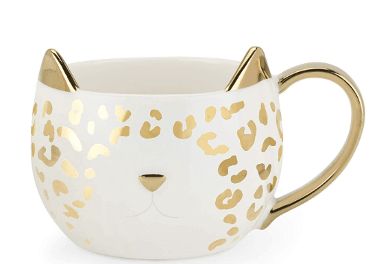 V-Day Gift For Girlfriend Ideas Cute White and Gold Cat Mug