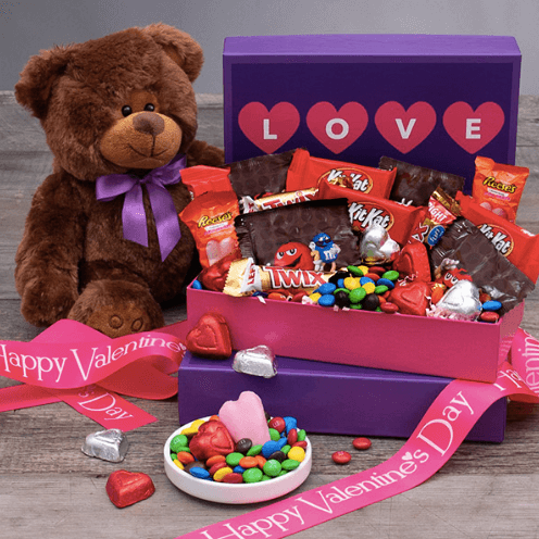 Valentine's Day Gift Basket For Her - Hugs and Kisses