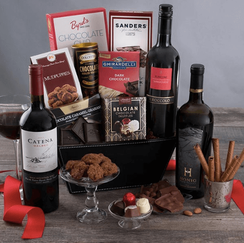 Valentine's Day Gift For Her Ideas Gourmet Gift Basket Wine and Chocolate