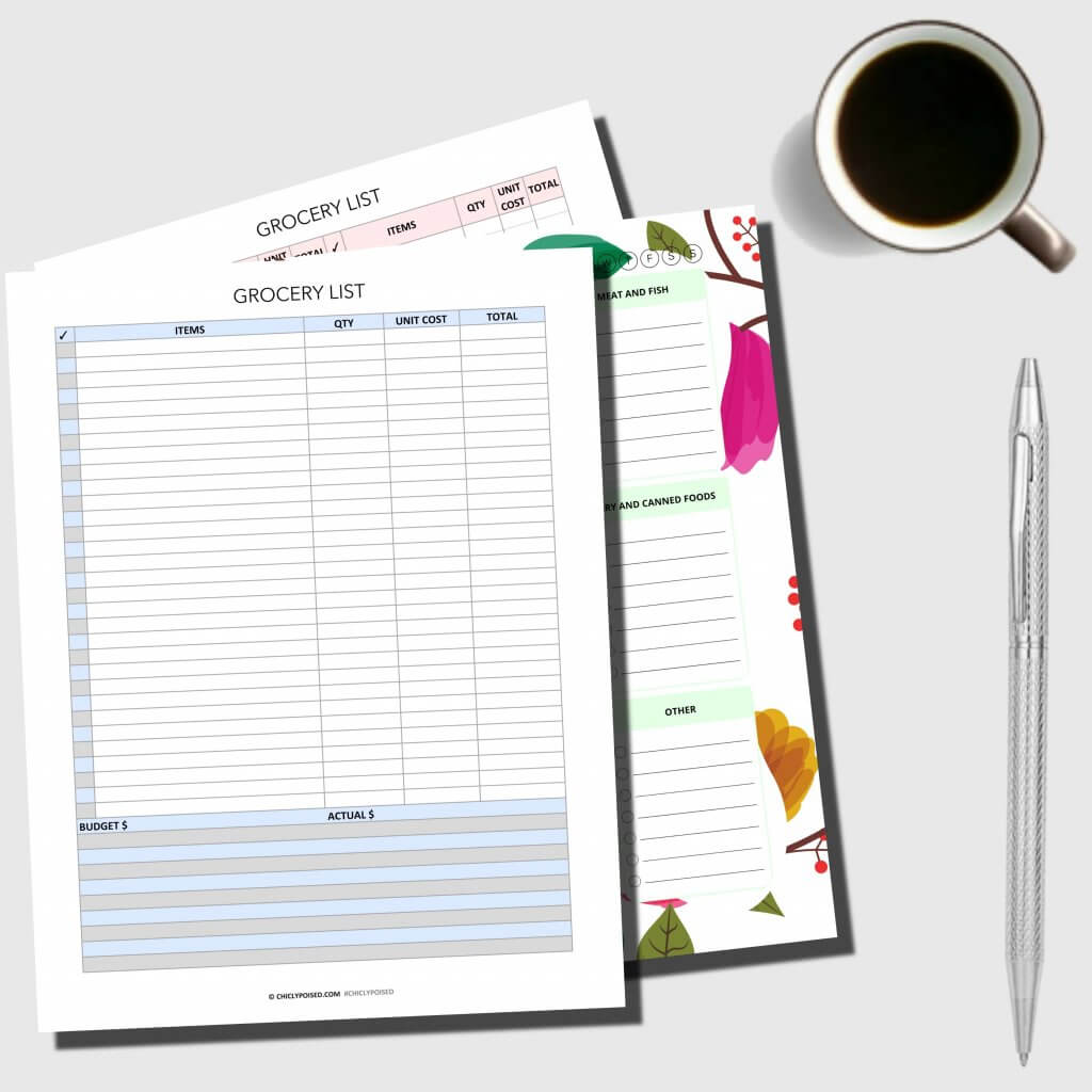 Grocery Shopping List Printable Bundle Pink Gray Grey Blue 1 of 4