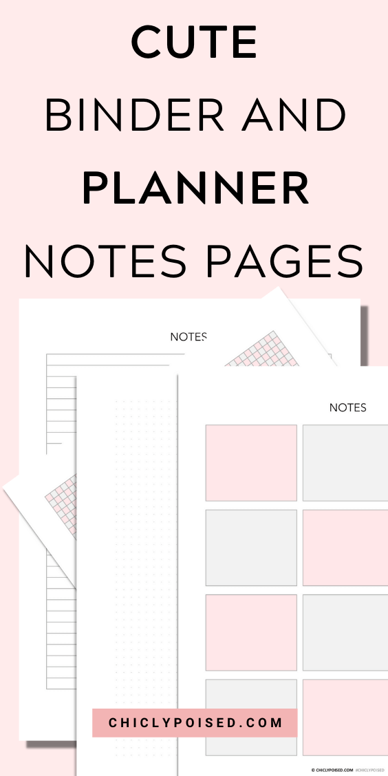 Binder and Planner Notes Pages