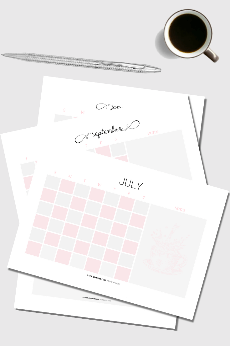 Undated Blank Printable Calendar Inserts 3 of 3
