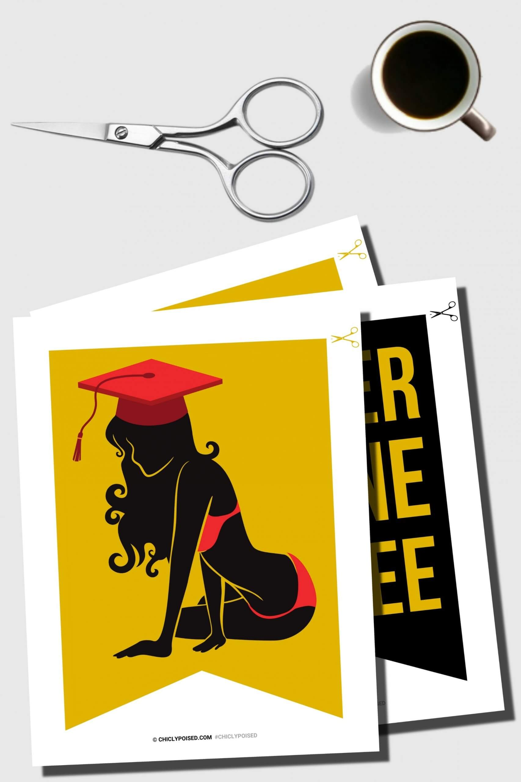 Graduation Banner Printable Kit, Black and Gold 2 of 5